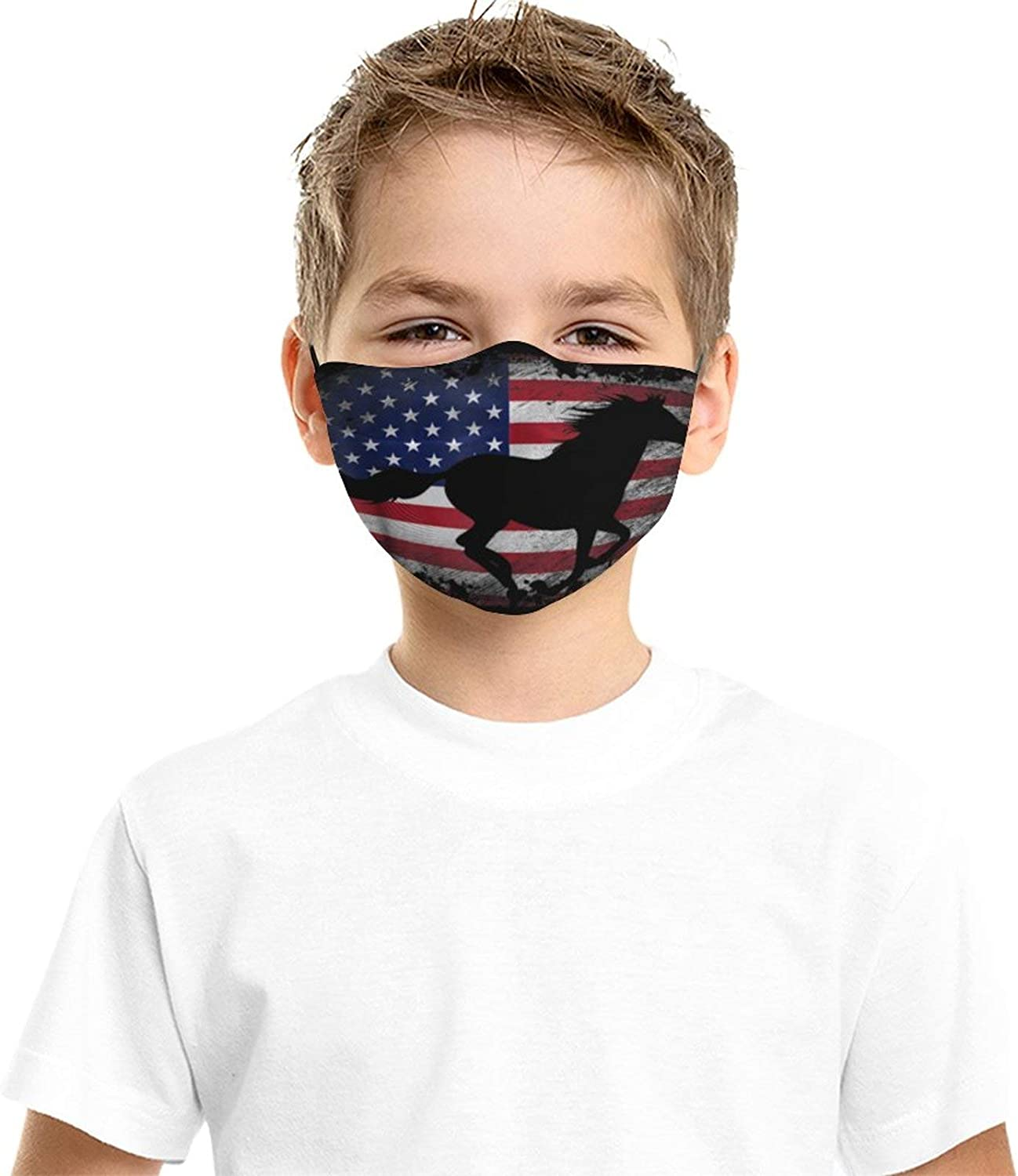 American Flag USA Patriotic Horse Kids Face Masks Set of 2 with 4 Filters Washable Reusable Breathable Black Cloth Bandanas Scarf for Unisex Boys Girls