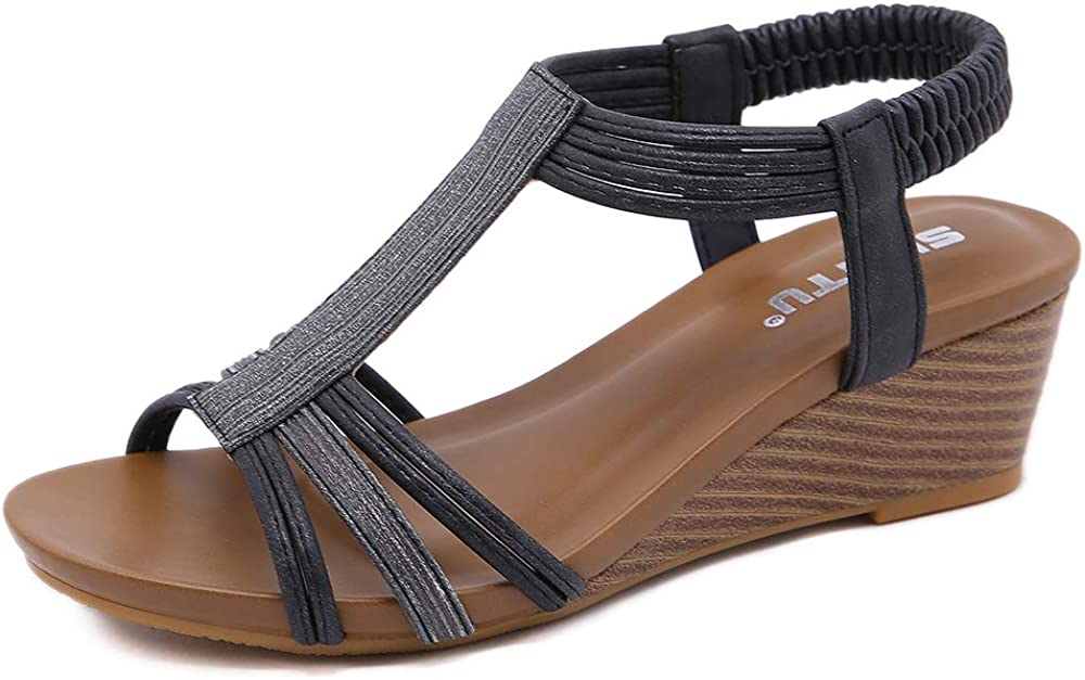 ZAPZEAL Wedge Sandals for Women Summer Boho Beach Sandal Ladies Open Toe Casual Comfort Walking Sandal Wide Fit Vintage Platform Shoes Heeled Sandals with Ankle Strap Size 6-10 US