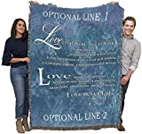 Love is Patient Love is Kind - Scriptures - 1 Corinthians 13 - Personalized - Cotton Woven Blanket Throw - Made in The USA (72x54)