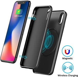 Vproof iPhone X Battery Case + iPhone X Case, 4500mAh Detachable Wireless Charger Magnetic Charging Case, Rechargeable Power Bank for iPhone 8+/8, Samsung S9/S9+/S8/S8+/Note 8 and More (Light Black)