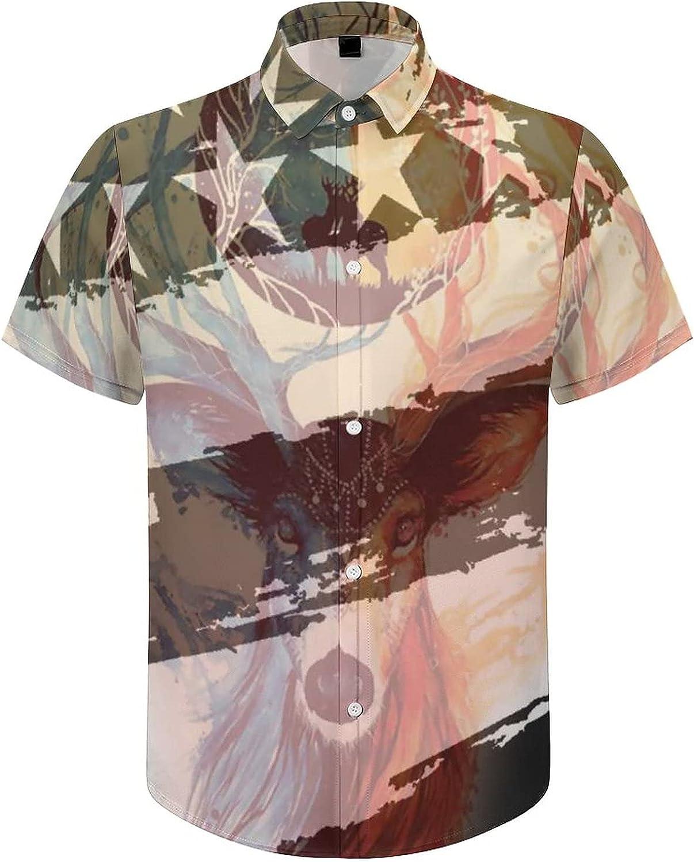 Men's Short Sleeve Button Down Shirt Black USA Flag Deer Summer Shirts
