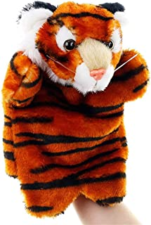 Finger Pocket Plush Toy Plush Toy Animal Hand Puppet Doll Nursery Tale Props Family Parent-Child Interaction Dolls Super Cute ( Color : Coffee Tiger , Size : 25cm )