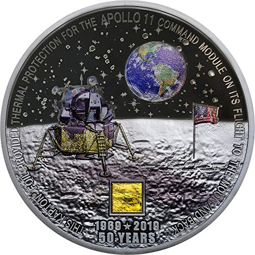Moon Landing Aterrizaje Lunar Apollo 11 50 Aniversario 3 Oz Moneda Plata 20$ Cook Islands 2019