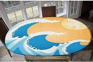 Housse de table élastique japonaise en polyester - Motifs de vagues de la mer à midi d'été - Image décorative - Oblonge/ov...