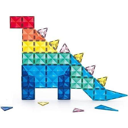 KEBO Starshine Magnetic Tiles. Piezas Magnéticas translúcidas, Colores Brillantes. Bloques construcción para niños, Ideales para mesas de luz (58 Piezas)