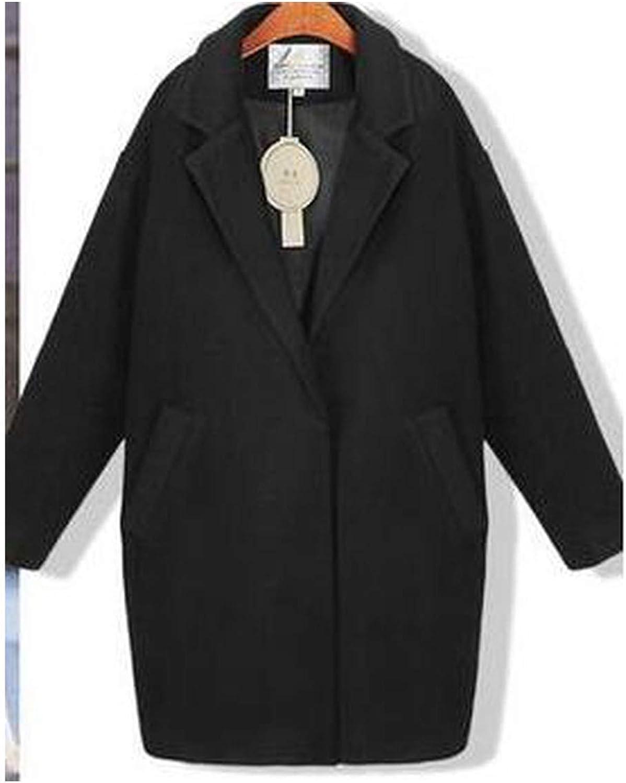 2019 Cocoon Coat Women Coat Overcoat Spring Autumn Slim Blend Alpaca Woolen Coat,Black,M