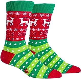Calcetín It To Me - Calcetines De Hombre Tacky Vacaciones Suéter - Divertido Calcetines de hombre, Happy Socks Navidad T. gr.42-47 talla única - VERDE Y ROJO, Herren 40-47