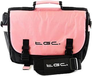 TGC ® Messenger Style Draagtas Compatibel met Garmin Camper 770 LMT-D Caravan Sat Nav GPS-systeem, Baby Roze & Zwart, M,