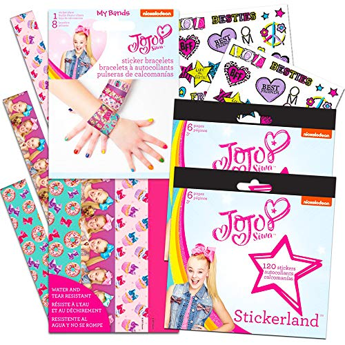 Jojo Siwa Party Favors Bracelets and Stickers Set -- 8 Jojo Siwa Wristbands with Decorations,12 Sticker Sheets and 32 Temporary Tattoos (Jojo Siwa Party Supplies)
