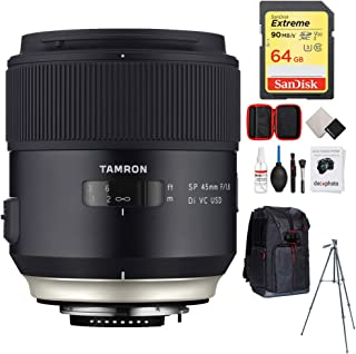 Tamron SP 45mm f/1.8 Di VC USD Lens for Nikon Mount (AFF013N-700) with 64GB Memory Card, Photo Camera Sling Backpack, Vanguard 60