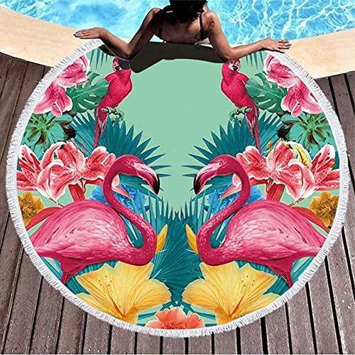Opprxg Toalla de Playa de Microfibra Rosa Flamenco Verde Hoja Borla Toalla de Playa Redonda 150x150cm
