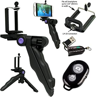 ChargerCity Selfie Photo Booth Kit w/Handheld Pistol Grip Tripod Shutter Remote & Smartphone Holder for Apple iPhone X 8 7 Plus 6s Samsung Galaxy S8 S9 Note w/Free Micro SD Memory Card Reader