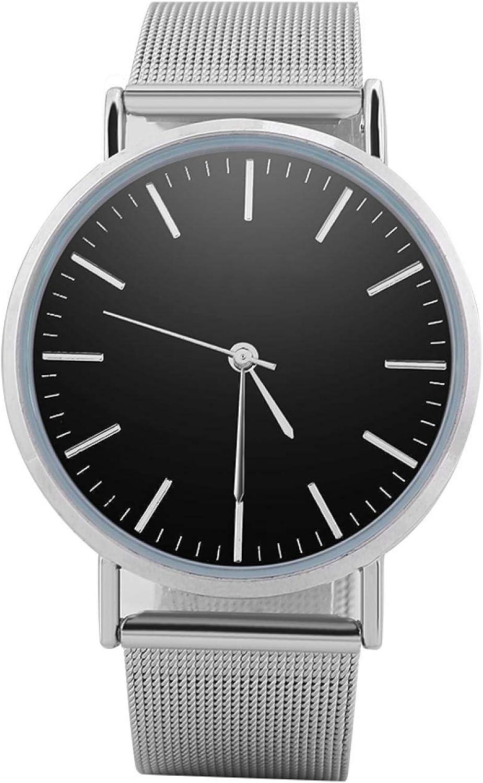 Reloj de pulsera de cuarzo analógico redondo para amantes, 2 colores, 2 tamaños, reloj de pulsera con correa de aleación, regalo perfecto para tu amante, amigos o para ti mismo(Esfera negra L)