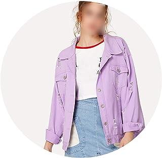 JunXian coats Chamarra de Mezclilla para Mujer con Hombros desgarrados para otoño, Color Morado, Estilo Casual