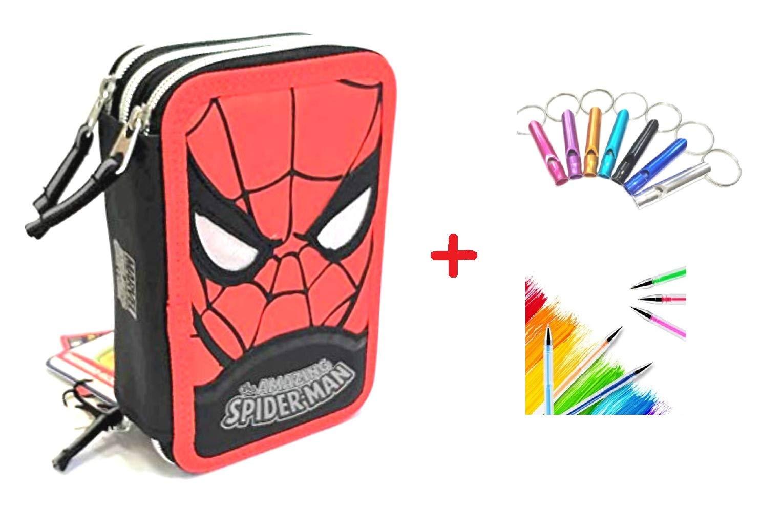 Marvel. Estuche Hombre Araña Spiderman 3 Pisos Cremallera Completo + Llavero Silbato + bolígrafo Purpurina + marcapáginas: Amazon.es: Deportes y aire libre