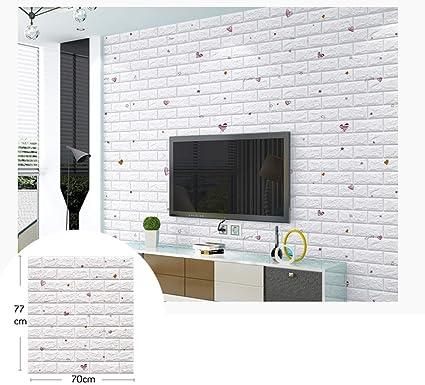 Carta Da Parati Mattoni 3d Adesiva Muro Di Mattoni Moderna Pannello Parete A Forma Di Cuore Decorativa Creativa Camera Da Letto Impermeabile Pe Schiuma Diy Per Bambini Adesivi Mattoni Size