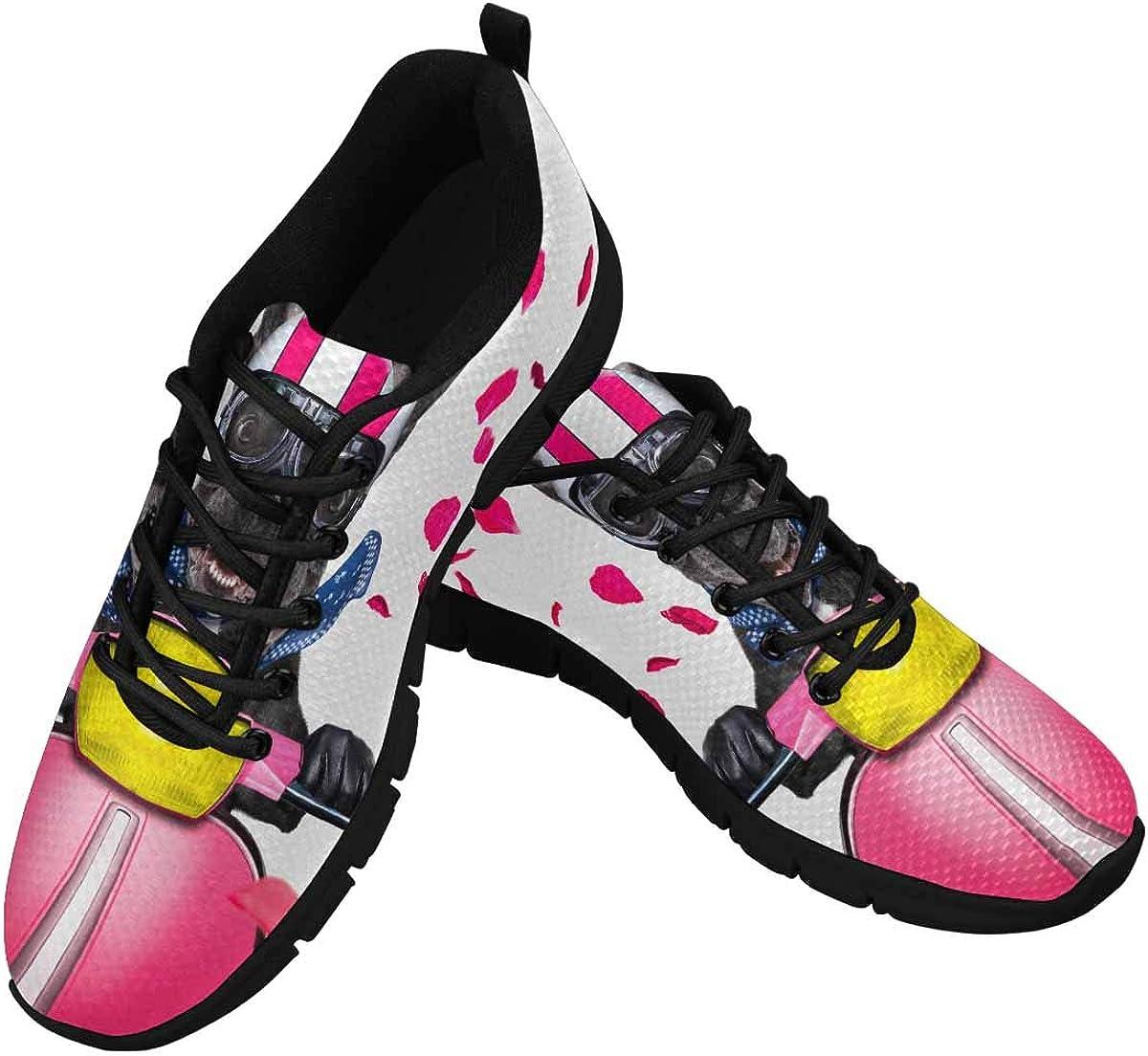 INTERESTPRINT French Bulldog Motorbike Women's Tennis Running Shoes Lightweight Sneakers