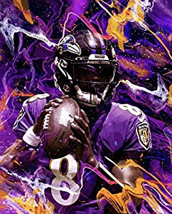 Lamar Jackson Poster Print, NFL Picture, Wall Art, Artwork, Posters for Wall, Baltimore Ravens Game Room Poster, Canvas Art, No Frame Poster, Original Art Poster Gift SIZE 24''x32'' (61x81 cm)