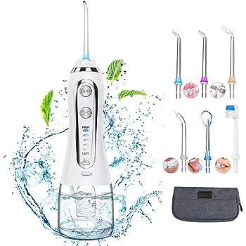 Munddusche Elektrische Wasser Flosser mit 5 Modi und 6 Düsen kabellos Oraler Irrigator IPX7 Wasserdicht Zahnreiniger mit 300ML Wassertank für Zuhause, Reise
