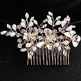 Deniferymakeup - Peineta para el pelo de novia, diseño de perlas de diamante de imitación, estilo vintage, accesorio para boda