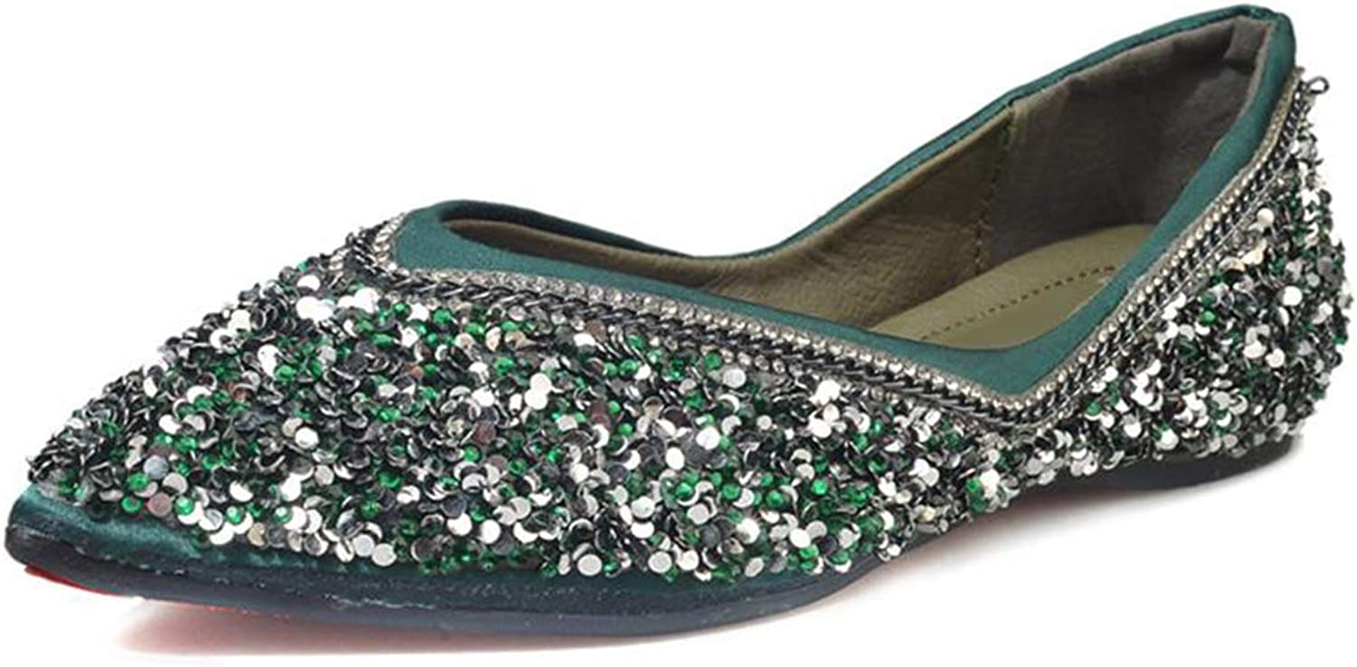 Owen Moll Women Flats, Cute Pointed Toe Bling Slip-on Sequined Cloth Loafer shoes