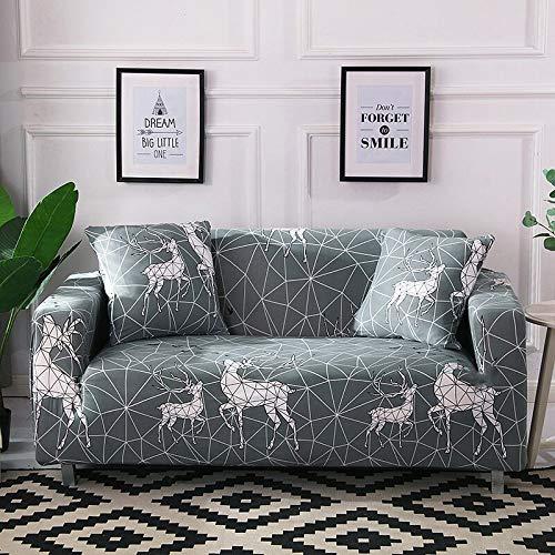 Funda de sofá elástica de algodón Funda de sofá Todo Incluido para Sala de Estar Funda elástica en Forma de L Sofá de Esquina A14 2 plazas