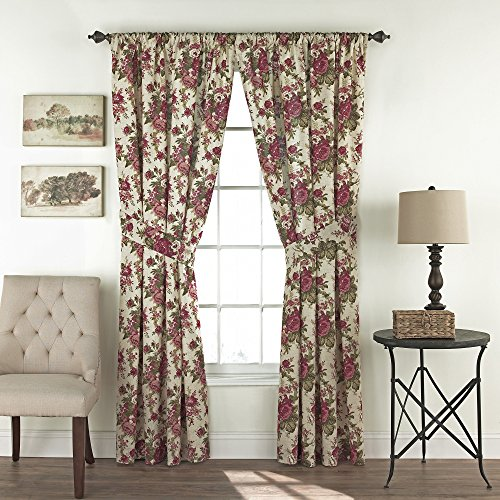 "WAVERLY Curtains for Bedroom - Norfolk 100"" x 84"" Decorative Double Panel Rod Pocket Window Treatment Privacy Curtain Pair for Living Room, Tea Stain"