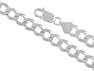 """Sterling Silver 7MM Flat Curb Chain Necklace for Men and Women, 30"""""""