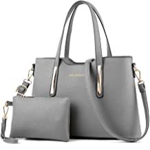 PIXNOR Women Leather Top Handle Tote Bag Handbag with Purse Set