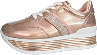LUCKY STEP Women Metallic Platform Sneakers Casual Chunky Pu Lace Up Walking