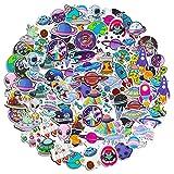 Hifot Außerirdische Aufkleber UFO Laptop Sticker 100 Stück, Rakete Schiff Vinyl Aufkleber Stickers für Skateboard Auto Motorrad Fahrrad, wasserdichte Aufkleber Pack für Kinder Jugendliche Erwachsene