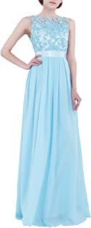 TiaoBug Women's Chiffon Embroidered Pleated Evening Gown Bridesmaid Maxi Dress