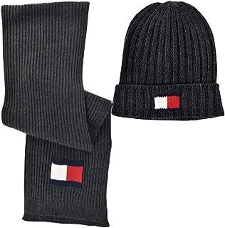 Tommy Hilfiger Men's Hat and Scarf Set (Charcoal Bundle)