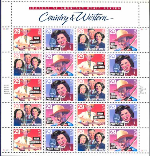 Country and Western Music Legends 29 Cent Sheet of 20 Stamps Scott 2771-74 By USPS