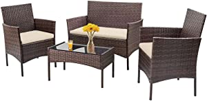 Patio Furniture Set 4 Piece Outdoor Wicker Sofas Rattan Chair Wicker Conversation Set Coffee Table Bistro Sets for Pool Backyard Lawn (Brown)