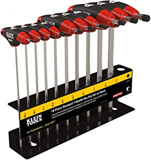 T Handle Hex Key Set with Stand, SAE, 6-Inch Blade, Chamfered End, 10 Piece Klein Tools JTH610E