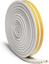 Door Seal Weather Stripping, Window Rubber Seal Strip Self Adhesive Foam Tape for Draft Stopper Gap Blocker and Wind blocker, 3/8-Inch x 1/4-Inch x 10-Feet, 2 Seals (White)