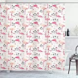 Cortina De Ducha Flamingo Flamencos Impermeables En Estilo Vintage Ilustración...