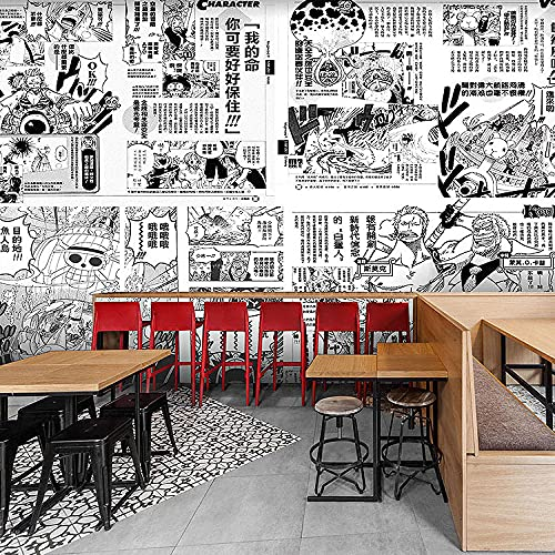 Japanese Style Hand-Painted Poster Anime Wallpaper Mural Black and White One Piece Manga Wallpaper 250(L) x175(H) cm