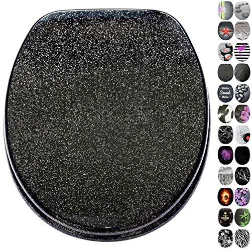 WC Sitz, viele schöne schwarze WC Sitze zur Auswahl, hochwertige und stabile Qualität aus Holz (Glitzer Schwarz)