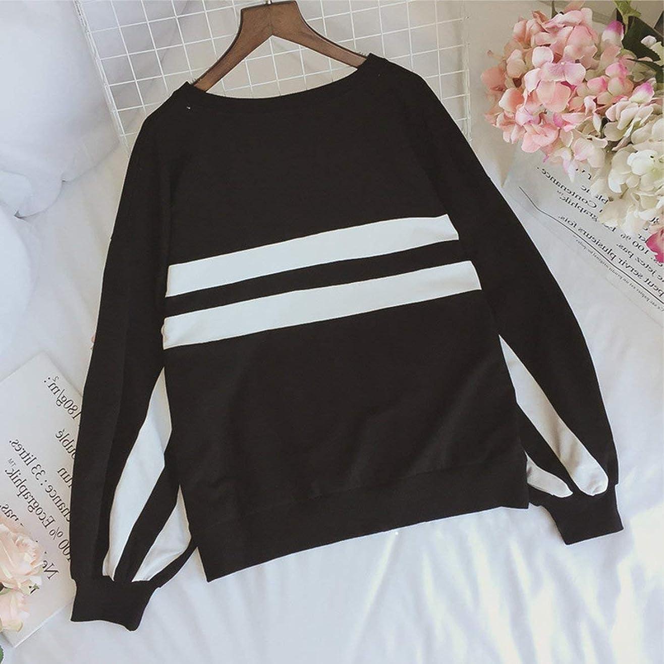 ウサギ不一致の間にファッショナブルなソフトセータースタイルゆったり春秋快適な女性の服-ブラックXXL