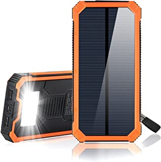 Solar Charger, 15000mAh Portable Solar Phone Chargers External Battery Charger with Dual 2 USB Port/LED Light Backup Battery Pack for Backpacking Camping, Solar Power Bank for Electronic Devices