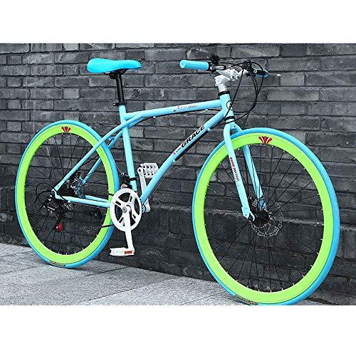 YXWJ 24 velocidades for Bicicleta Adultos al Aire Libre del Estudiante 26/24 Pulgadas Marco de Doble Portable de la Bicicleta del Freno de Disco de Acero al Carbono de Alta Bici de la Pista Urbana