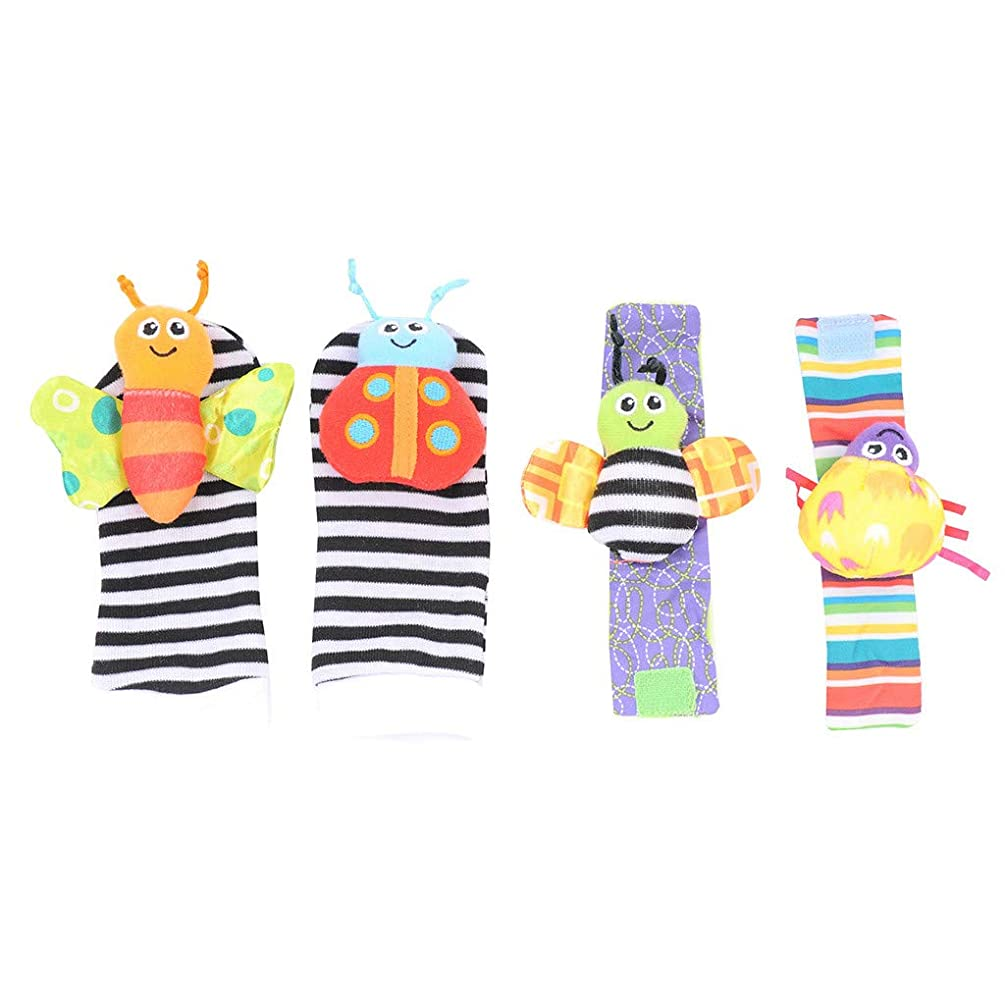 Littleice Baby Socks Toys Wrist Rattles and Foot Finders Multicolor 4pack;Cute Animal Soft Baby Socks Toys Wrist Rattles and Foot Finders for Fun Reindeer Set 4PCS
