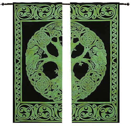 Indian Celtic Green Tree Tapestry Mandala Cotton Curtain Hippie Tapestry Door Curtain Drape Room Mandala Window Curtains Panels Pair 82 Length Set of 2 Indian Hippie Wall Hanging Bohemian Bedspread