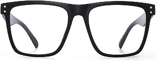 GLINDAR Oversized Square Blue Light Blocking Glasses for Women Men Light TR Frame Computer Glasses Black