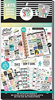 Me & My Big Ideas The Happy Planner Sticker Value Pack - Work It Out Theme - Multi-Color & Gold Foil - Great for Projects, Scrapbooks & Albums - 30 Sheets, 1475 Stickers Total
