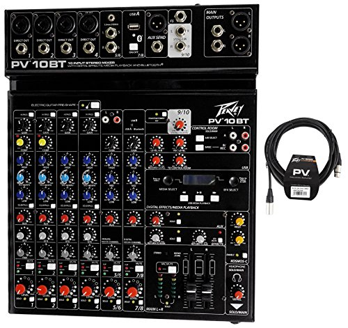 Package: Peavey PV 10BT PV10BT Pro Audio Mixer With 4 Mic In, Bluetooth, USB, Compressor/Effects and 3 Band EQ + Peavey PV 20
