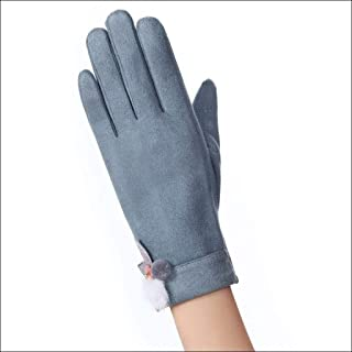 LJJOO Winter Warm Touch Screen Gloves Suede Thick Smart Phone SMS Gloves Female Girl (Color : E)
