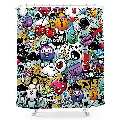 LIGHTINHOME Duschvorhang, Motiv: Monsters Graffiti, Cartoon, lustig, Kinder, skurriles Aliens, bunt, Stoff, wasserdicht, Heim-Badewannen-Dekoration, 12 Stück, Kunststoffhaken, 183 x 183 cm